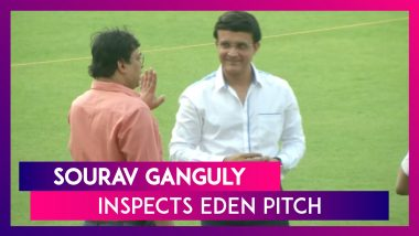BCCI President Sourav Ganguly Inspects Eden Pitch Ahead Of Day-Night India vs Bangladesh Test